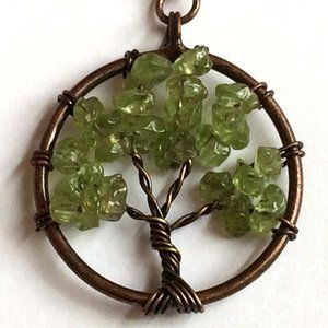 Copper Green Peridot Tree of Life Necklace 20""